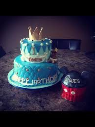 Baby shower prince cake and a Mickey Mouse smash cake