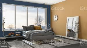 farbige moderne blau und orange schlafzimmer mit großen panoramafenster sonnenuntergang sonnenaufgang minimalistische architektur innenarchitektur