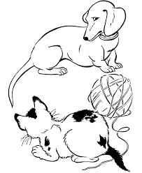 Dog Coloring Pages Playing With Cat