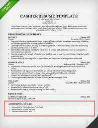 Cashier Resume Skills Section Example