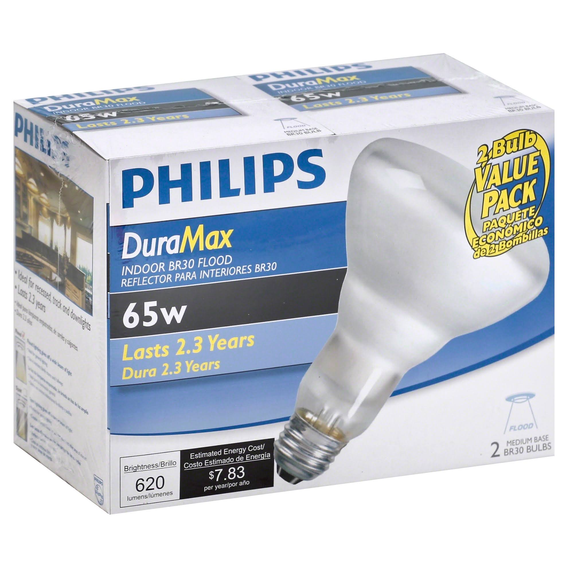 Philips Duramax Long Life Indoor Flood Light Bulbs - 65W, 2pk