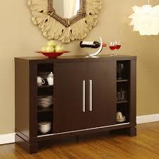 Storage Cabinet With Open Shelves Dishware Collection A Pair Of Wine Glasses Bottle Dining Room