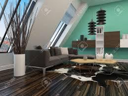moderne wohnzimmer interieur mit einer schrä wand mit fenstern modernen lounge suite und beleuchtung parkettboden und wandelemente auf einer