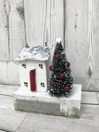 Driftwood Christmas Trees Cornwall by Handmade Driftwood Cottage House Shelf Ornament Shabby Chic