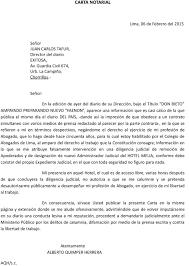 Carta Notarial Dirigida Al Sr Tafur Quien Suele Inclinarse Ante