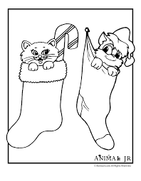 Christmas Coloring Pages Kittens Animal Jr