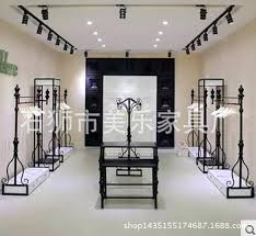 Clothing Shelves Store Boutique Display Rack Side Floor Wrought Iron Wall Hanging