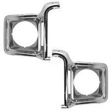 100 78 Chevy Truck Headlight Trim Bezel Chrome Silver Driver Passenger Pair For Blazer