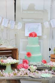 Soft Mint Dessert Table With Wedding Cake