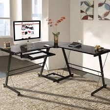 l shape computer desk pc glass laptop table workstation corner