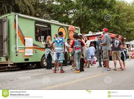 100 Food Trucks In Atlanta Customers Stand Line To Buy Meals From Stock Photo