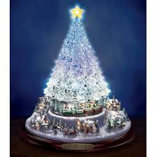 Thomas Kinkade Crystal Tabletop Christmas Tree Lights Motion And Music By The Bradford Exchange