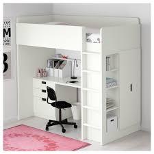 STUVA Loft bed with 3 drawers 2 doors white IKEA