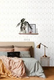 schlafzimmer tapete decó muster weiß und gold 139223