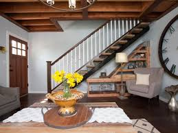 DecorationsRustic Living Room Combine Under Stair Storage And Round Coffee Table Also Yellow Flower