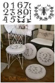 French Script Chair Cushions by These French Inspired Chair Pad Covers Were Painted Using The