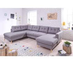 grand canapé canapé grand angle gauche scandinave convertible tissu gris clair
