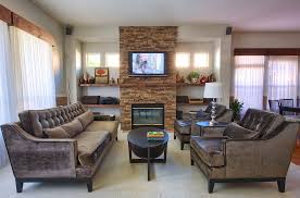 sumptuous mantel shelves in family room contemporary with stone