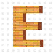 Font With Brick Wall Texture Letter E Vector Image Of Signs