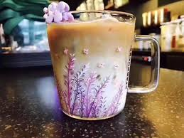 Authentic Summer New Starbucks Lavender Glass Cup 12oz Purple Cool Color Change Coffee Mug Heat Resisting Clear For Water Picture Mugs