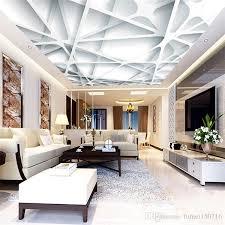 großhandel 3d moderne minimalistische decke tapete wohnzimmer schlafzimmer gästehaus wand weiß gitter halle decke benutzerdefinierte fresko