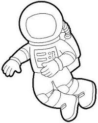 astronaut clipart black and white 7