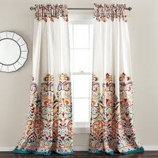 White Kitchen Curtains With Black Trim by White Curtains With Blue Trim Wayfair