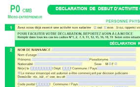 declaration auto entrepreneur chambre des metiers formulaire p0 cmb création micro entreprise aide