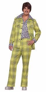 60s 70s Mens Costumes Hippie Disco Beatles Plaid Leisure Suit Costume