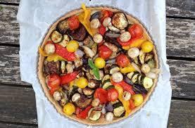 tarte aux légumes et crème d aubergine sur pâte brisée à l huile