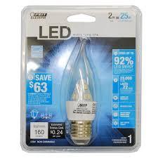 feit 2w led chandelier bulb clear bent tip medium base bulbamerica