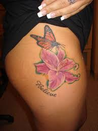 Butterfly And Lily Flower Tattoo On Side Thigh