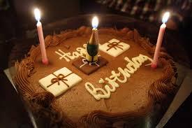 Chocolate Birthday Cake & Candles HD Wallpaper