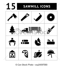 Set Icons Of Sawmill Timber Lumber And Woodworking Vector