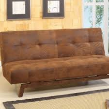 Rustic Style Living Room With Brown Microfiber Klik Klak Sleeper Sofa And Synthetic Fiber