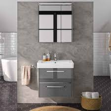 lomado badezimmer waschplatz set fes 3050 66 waschtisch unterschrank in hochglanz grau spiegelschrank b h t 66 200 45cm