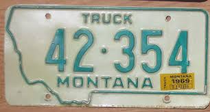 100 Truck License 1969 Montana Truck Vg Automobile Plate Store Collectible