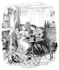 Mr Bumble And Mrs Corney Taking Tea George Cruikshank From Bentleys Miscellany Vol