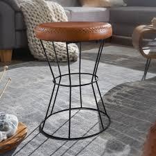 finebuy sitzhocker echtleder metall 35 x 48 x 35 cm design hocker rund dekohocker mit leder bezug moderner lederhocker braun gepolstert