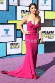 masiela lusha american music awards fuchsia strapless prom dress