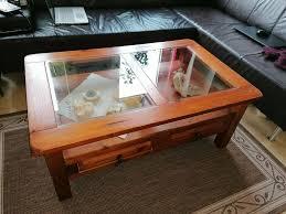 tisch pinie massiv 110x70 cm mit glaselemente kolonialstil