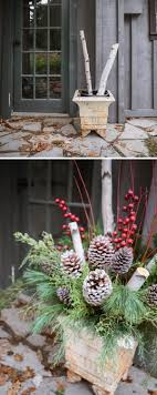 Rustic Outdoor Christmas Planters