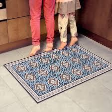 Linoleum Tiles Retro New Vinyl Area Rug With Blue Decorative Kitchen
