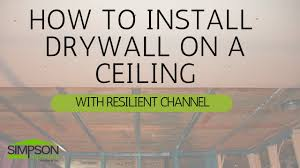 Ceiling Joist Span For Drywall by How To Install Drywall On A Ceiling With Resilient Channel Youtube