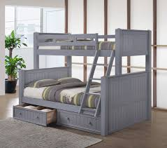 Dillon Twin over Full Wood Beadboard Bunk Bed with Trundle Bed