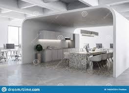 Modern White Kitchen Interior 3d Rendering Stockfoto Und Modern White Office Kitchen Stock Illustration
