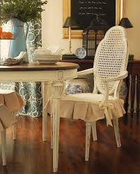 Dining Room White Ivory Fabric Seat Cover With Ruffle Skirt Slipcovers For Parsons Chairs