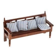 mini langes sofa 5 kissen puppenmöbel set für 1 12 puppenhaus puppenstube wohnzimmer dekoration 12th blau gestreift retro bett und sofastuhl