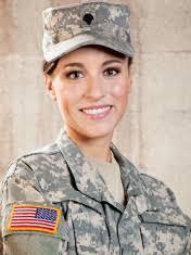 Female IN Military Uniform Saluting American Flag Stock Photos