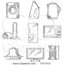 Clipart of a Black and White Sketched Vacuum Cleaner Kettle Iron Fridge Microwave Oven Needle and Cotton Television and Washing Machine Royalty Free